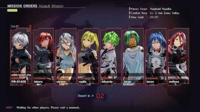 Un party di otto giocatori in God Eater 3