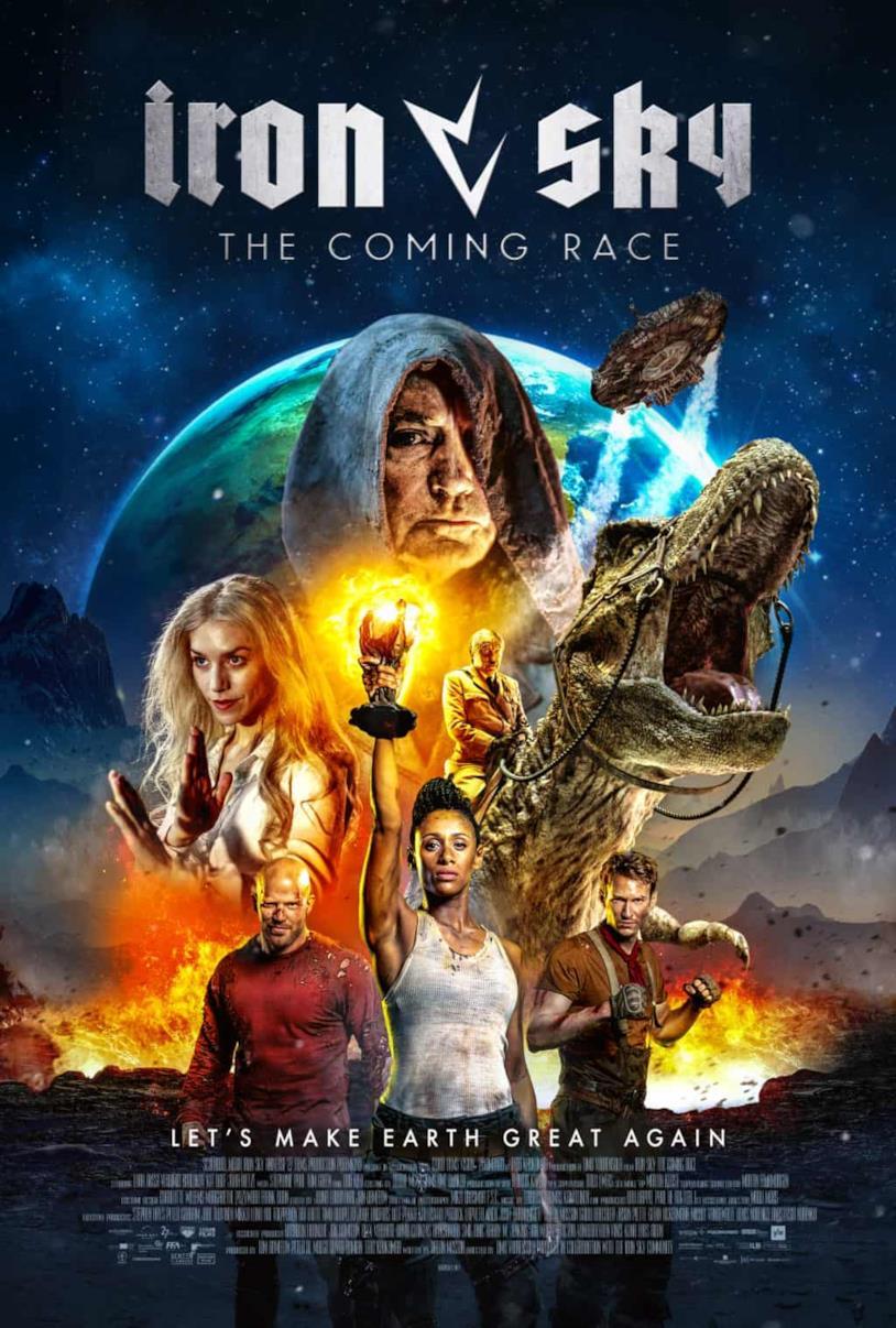 Il poster di Iron Sky: The Coming Race presenta i protagonisti e sullo sfondo Hitler zombie su un T-Rex