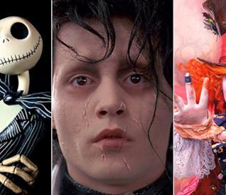 Collage dei personaggi dei film di Tim Burton