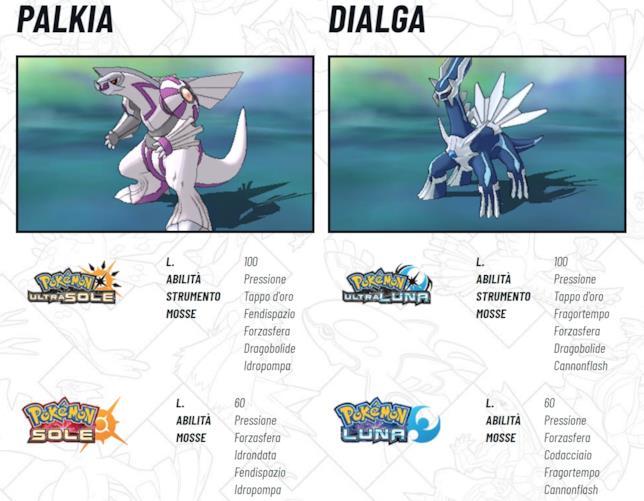 Pokémon Ultrasole e Ultraluna accolgono Palkia e Dialga