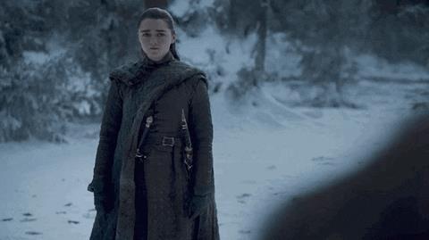 Maisie Williams e Kit Harington in Game of Thrones 8x01