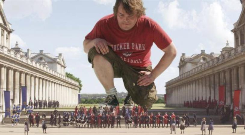 Jack Black in una scena de I viaggi di Gulliver