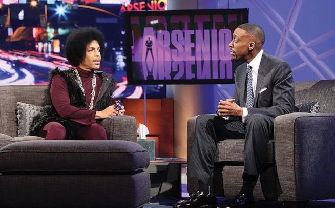 Primo piano di Arsenio Hall con Prince