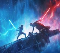 Kylo Ren e Rey che combattono sui resti della Morte Nera