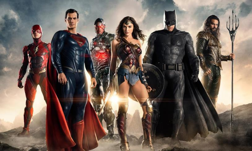 Flash, Superman, Cyborg, Wonder Woman, Batman e Aquaman in Justice League