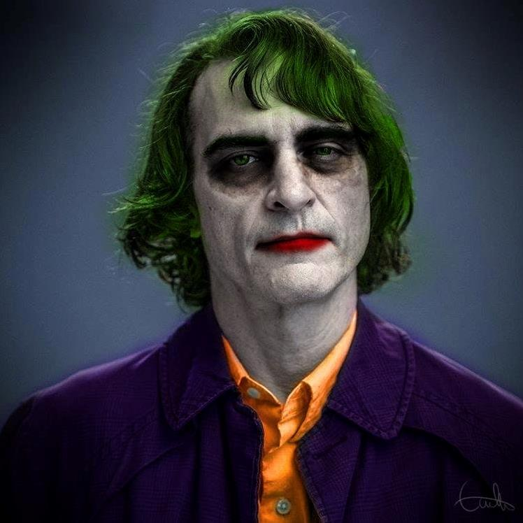 fan art di Joaquin Phoenix con il trucco da Joker