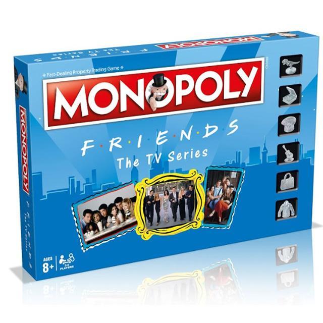 Un primo piano del box del Monopoly dedicato alla serie TV Friends