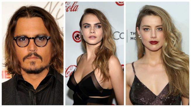 Primo piano di Johnny Depp, Amber Heard e Cara Delevingne