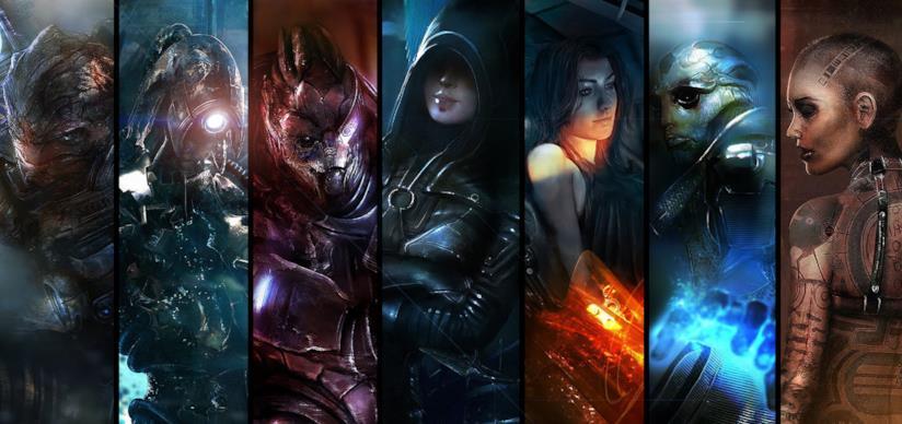 Alcuni dei protagonisti di Mass Effect n un artwork ufficiale