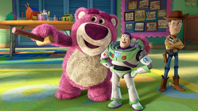 Lotso, Buzz e Woody in una scena di tory story 3