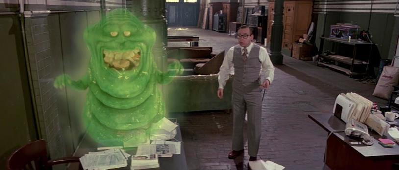 Slimer nella sede degli acchiappafantasmi in Ghostbusters 2