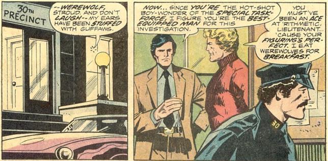 Le prime due vignette a fumetti che introducono il personaggio di Simon Stroud all'interno del distretto di polizia