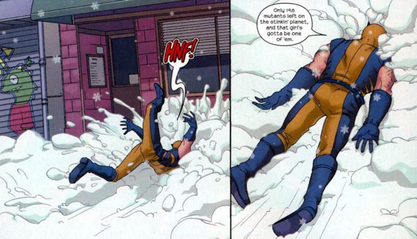 Wolverine cade nella neve dopo un pugno di Molly
