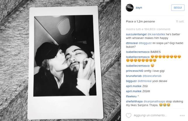Il primo scatto insieme di Zayn Malik e Gigi Hadid su Instagram