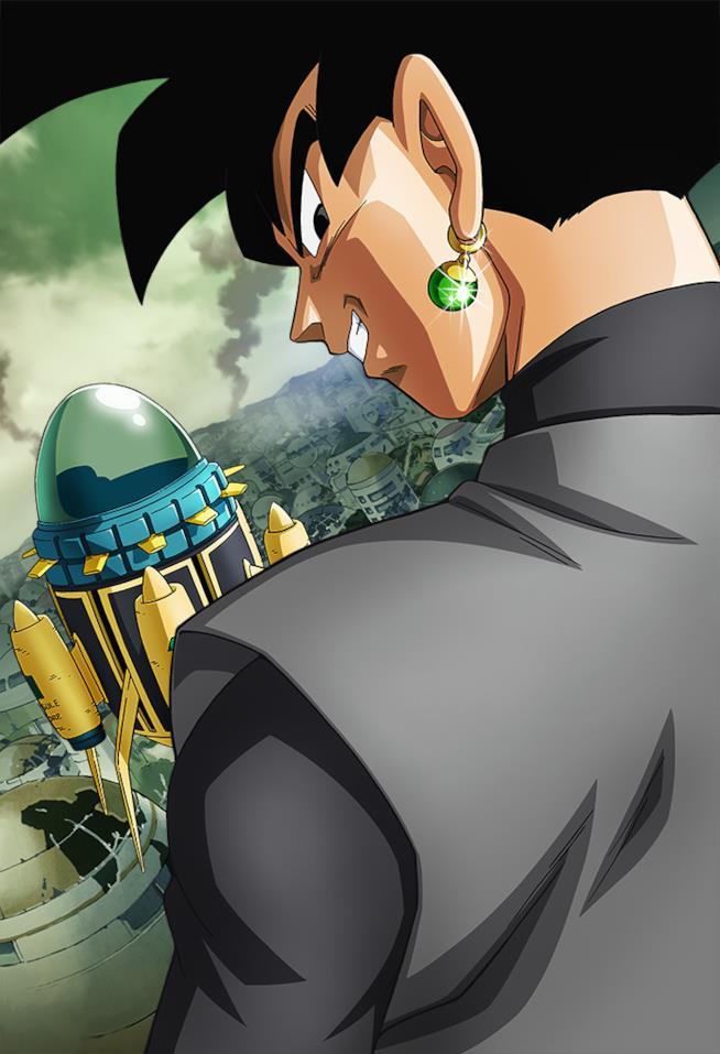 Black Goku con gli orecchini Potara di fianco alla macchina del tempo di Trunks