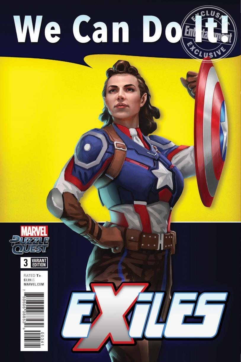 La copertina del terzo numero della serie a fumetti Marvel Exiles con Peggy Carter versione Captain America