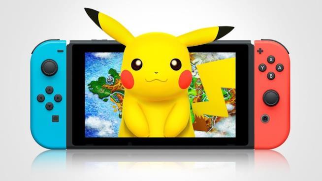 Pikachu sorride sullo schermo di un Nintendo Switch
