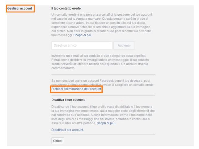 Secondo passaggio per eliminare il proprio account Facebook