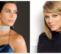 Primo piano di Kim Kardashian e Taylor Swift