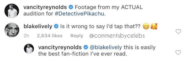 La reazione maliziosa di Blake Lively a Detective Pikachu