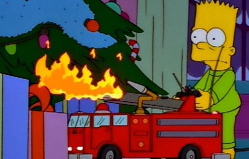 Bart rovina il Natale alla famiglia Simpson dando fuoco all'albero e ai regali