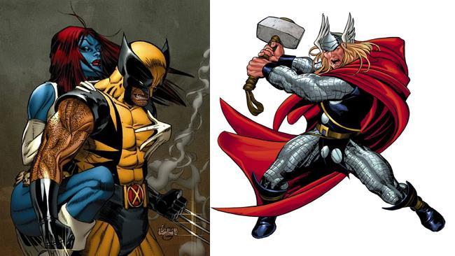 I supereroi Woverine, Mystica e Thor