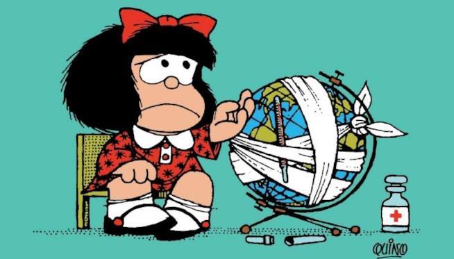 Il poster della mostra Mafalda la contestataria