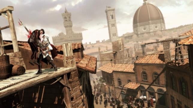 Ezio Auditore con alle spalle la Firenze del Rinascimento