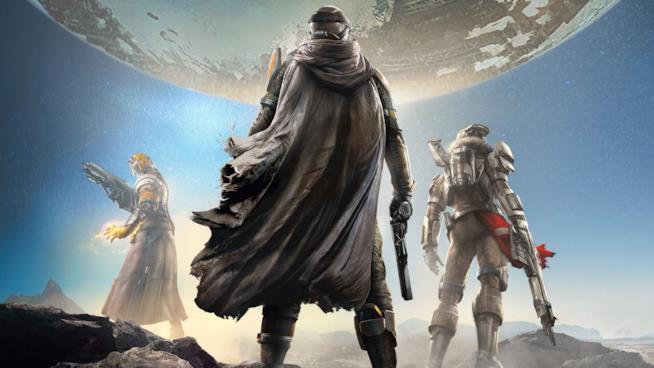 Titano, Cacciatore e Stregone di Destiny sulla cover del gioco