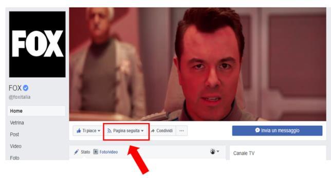Tutorial per dare priorità alle tue pagine preferite su Facebook: cliccare su 'Pagina seguita'