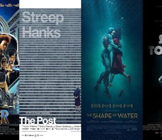 I poster dei film Black Panther, The Post, La forma dell'acqua - The Shape of Water, Sono tornato