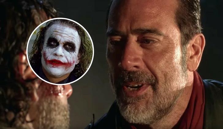 Negan in una scena iconica di The Walking Dead 6 affiancato al Joker di Batman
