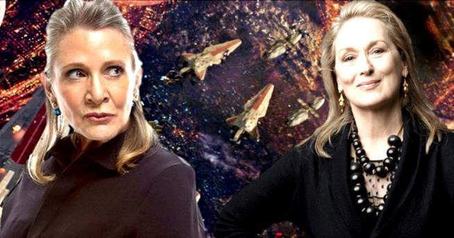 A sinistra Carrie Fisher, a destra Meryl Streep
