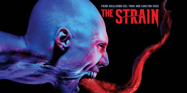Un vampiro di The Strain nel poster della serie TV
