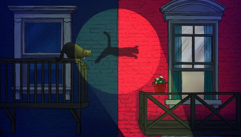 Una vignetta in cui un gatto salta da un balcone all'altro