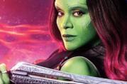 Zoe Saldana è Gamora in un dettaglio del poster promozionale di Avengers: Infinity War