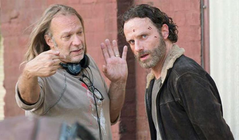Greg Nicotero e Andrew Lincoln sul set di The Walking Dead