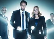 Mulder, Scully, Skinner e L'uomo che fuma in un immagine promozionale di X-Files