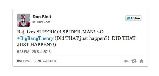 Il tweet di Dan Slott che dichiara di essere contento del fatto che Raj apprezza la sua opera a fumetti