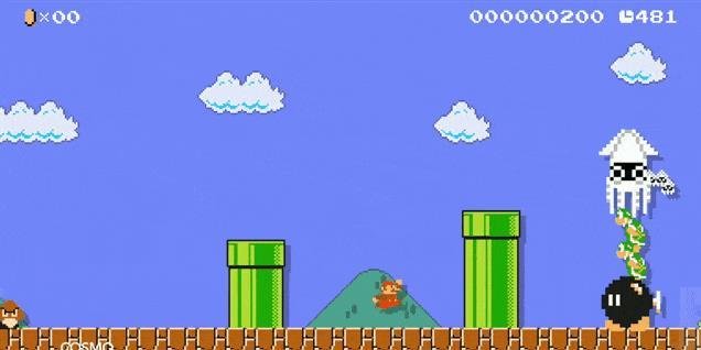 Mario in azione in un folle livello di Super Mario Maker