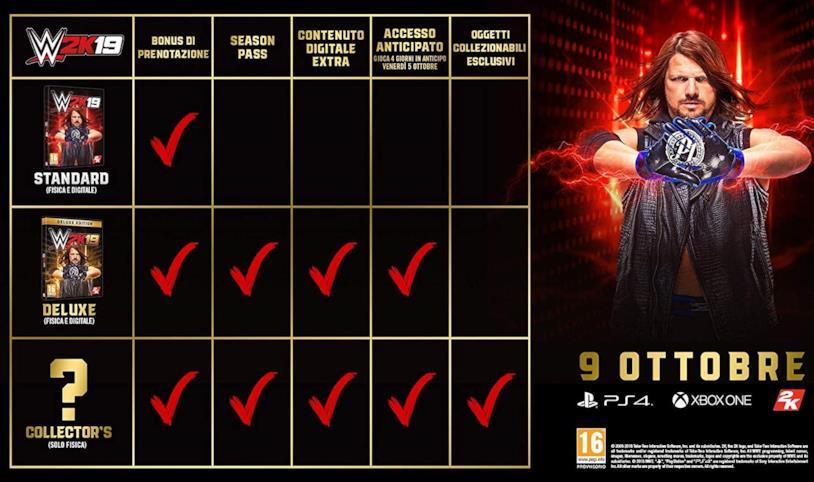 Tutte le versioni prenotabili di WWE 2K19