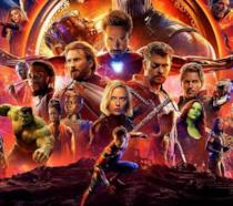 Un banner promozionale di Avengers: Infinity War