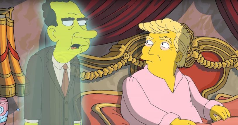 Fermoimmagine del video de I Simpson sul presidente Trump con il fantasma di Nixon