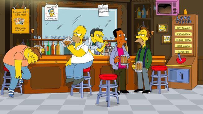 Homer e i suoi amici bevono al bancone del bar di Boe