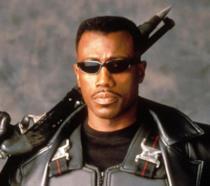 Wesley Snipes è Eric Brooks sul set di Blade