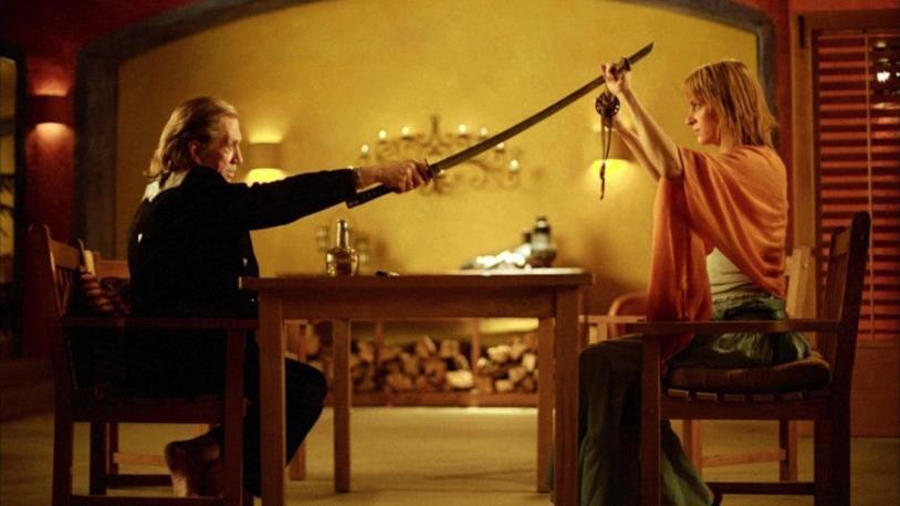David Carradine e Uma Thurman in Kill Bill