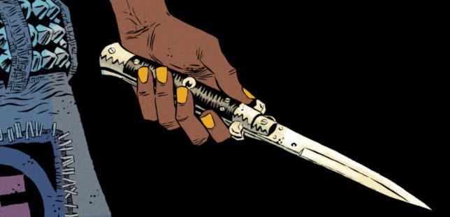 Un coltello minaccia Tabitha e i suoi compagni
