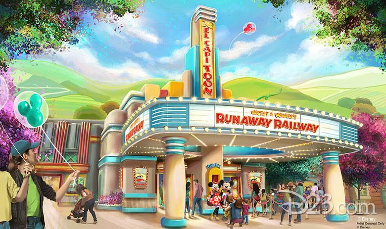 Concept art dell'attrazione Rushway Railway di Topolino e Minnie
