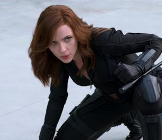 Un primo piano di Black Widow in Captain America: Civil War