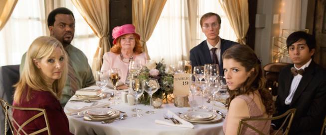 Anna Kendrick, Craig Robinson, Lisa Kudrow, Stephen Merchant, Tony Revolori e June Squibb durante una scena del film Ravolo 19